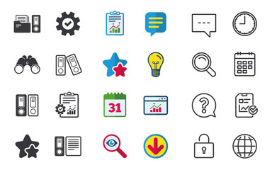 Accounting icons. Document storage in folders sign symbols. Chat, Report and Calendar signs. Stars, Statistics and Download icons. Question, Clock and Globe. Vector