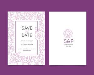 Wedding invitation card set with flower