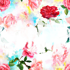 Design template with watercolor roses and copy space