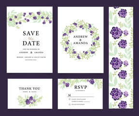 Wedding invitation card set with flower