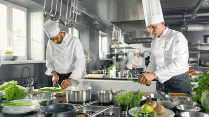 Two Famous Chefs Work as a Team in a Big Restaurant Kitchen. Vegetables and Ingredients are Everywhere, Kitchen Looks Modern with Lots of Stainless Steel.