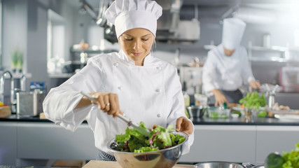 In a Famous Restaurant Female Cook Prepares Salad. She Works in a Big Modern Kitchen.