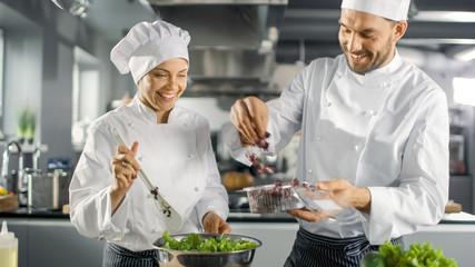 Male and Female Famous Chefs Team Prepare Salad for Their Five Star Restaurant. They Work on a Big Restaurant Stainless Steel Professional Kitchen.