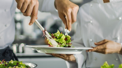In a Famous Restaurant Cook Prepares Salad and Puts it on a Plate. Working in a Big Modern Kitchen.