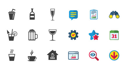 Coffee, tea icons. Beer, wine and cocktail signs. Soft and alcohol drinks symbols. Calendar, Report and Download signs. Stars, Service and Search icons. Statistics, Binoculars and Chat. Vector