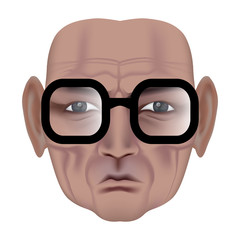 The face of old man with deep wrinkles. Frown expression. Wise old man in black glasses. Made by gradient mesh