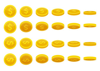 Different positions of golden coins. Vector illustrations in cartoon style