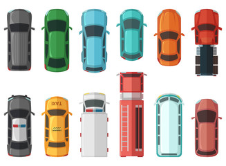 Pictures of transportation top view. Cars isolated on white background. Vector city models