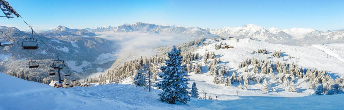 Ski lift mountain winter panorama