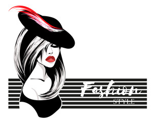 Retro black and white fashion style brunette woman portrat, beautiful girl wearing hat with feather, red lips, hand drawn vector illustration