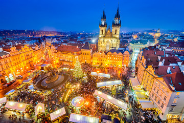 Tuinposter Praag Prague, Czech Republic - Christmas Market