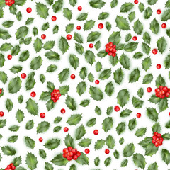 Holly berry. Seamless pattern. EPS 10 vector