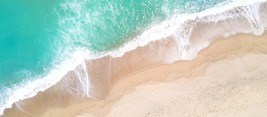 Garden Poster Air photo Aerial view of sandy beach and ocean with waves
