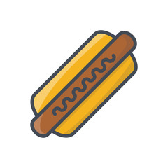 Fast food hot dog colored icon