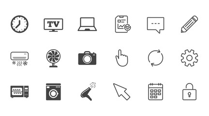 Home appliances, device icons. Electronics signs. Air conditioning, washing machine and microwave oven symbols. Chat, Report and Calendar line signs. Service, Pencil and Locker icons. Vector
