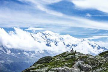 Aluminium Prints Reflection alps range and hikkers