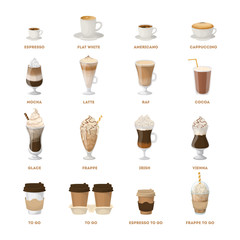 Coffee menu set.