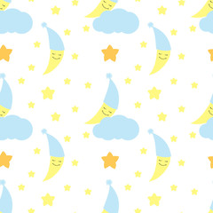 Cute baby half moon pattern vector seamless. Children print with crescent in nightcap on cloud and with stars. Background for birthday card, fabric or wallpaper, baby shower invitation template.