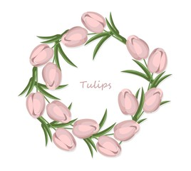 Vintage tulips flowers round wreath card vector background. Wedding invitation, springtime delicate decor