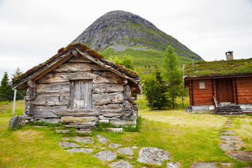 old wooden barn and house in Norway