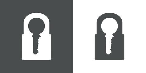 Icono plano candado con llave en espacio negativo gris y blanco