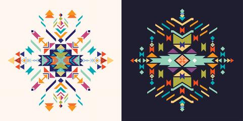 Aztec  decorative elements set, vector design