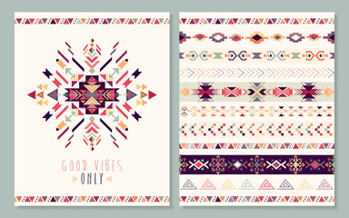 Aztec card with geometric elements, vector design
