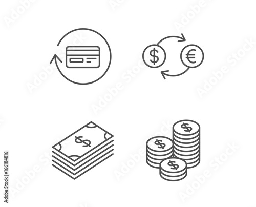Money Cash And Currency Exchange Line Icons Credit Card Banking