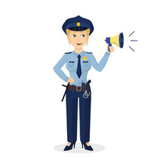 Policewoman with megaphone.
