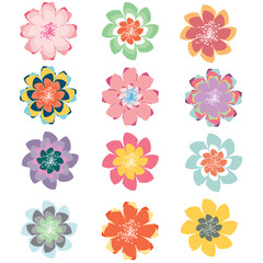 Set of abstract Pastel Vector Flowers