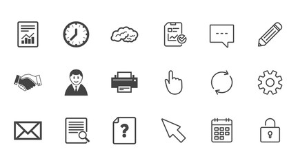 Office, documents and business icons. Deal, mail and businessman signs. Report, magnifier and brain symbols. Chat, Report and Calendar line signs. Service, Pencil and Locker icons. Vector