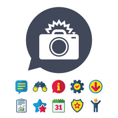 Photo camera sign icon. Photo flash symbol. Information, Report and Speech bubble signs. Binoculars, Service and Download, Stars icons. Vector