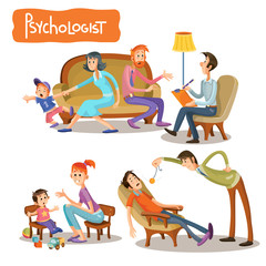 Vector cartoon illustrations the patient is talking with psychotherapist, consultation of psychologist. Depression businessman, teenage problems, alcohol and drug addiction, ADHD and autism