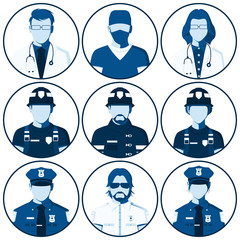 Avatar of people of emergency services. Flat icons with silhouettes of fireman, rescuer, doctor, surgeon, police officer, sheriff. Man and woman isolated on white. Vector illustration.