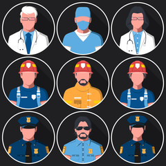 Set of flat round avatars of medical, fire and police services. Portraits of firemen, medical staff and police officers for user profile picture. Men and women. Vector illustration.