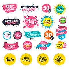 Sale shopping banners. Sale icons. Best special offer symbols. Black friday sign. Web badges, splash and stickers. Best offer. Vector