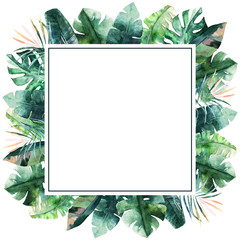 Watercolor frame with tropical palm leaves. Hand drawn illustration