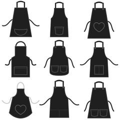 black apron set isolated on white