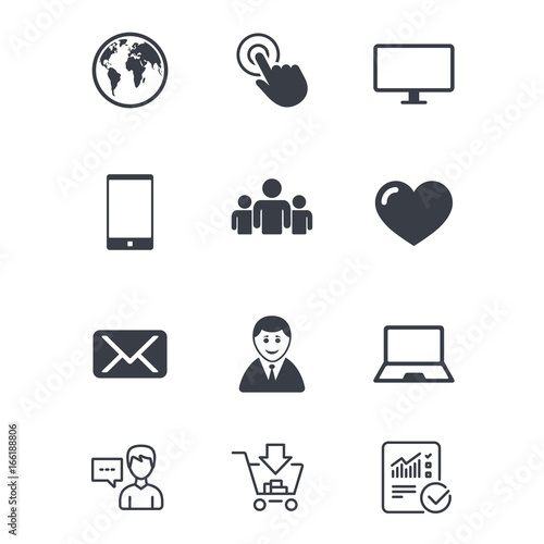 Web Mobile Devices Icons Share Mail And Like Signs Laptop Phone
