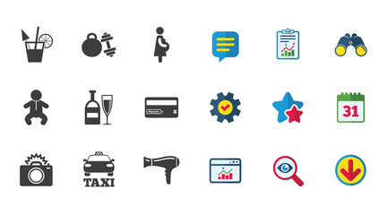 Hotel, apartment service icons. Fitness gym. Alcohol cocktail, taxi and hairdryer symbols. Calendar, Report and Download signs. Stars, Service and Search icons. Statistics, Binoculars and Chat. Vector
