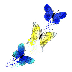 Vector background with flying butterflies