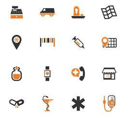 Drug store icons set