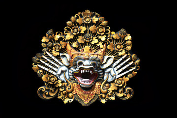 Closeup of traditional Balinese God statue in Bali temple