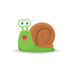 Cute snail cartoon vector isolated