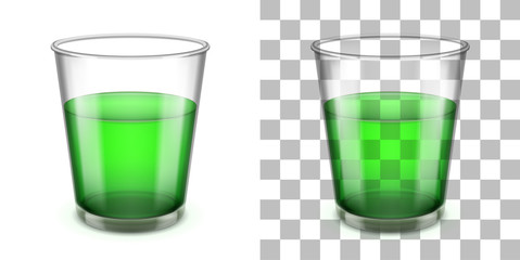 Wider top glass tumbler with sloped sides for various drinks. Realistic vector illustration.