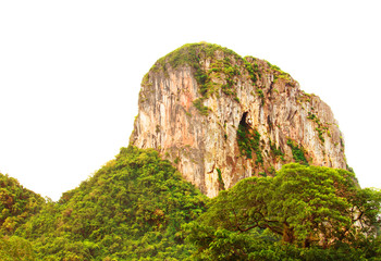 mountain cliff high and forest on white background ( Phatthalung province of southern Thailand ) with sunset light