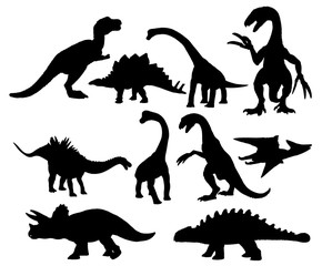 Set of dinosaurs silhouettes isolated on white background.