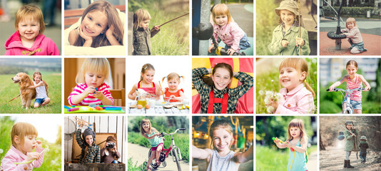 Lovely small stylish kids, girls all outdoors being active and enjoying nature, collage