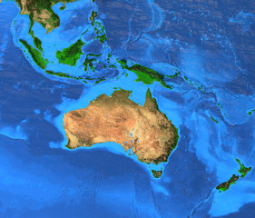 Wall Mural - Australasia Oceania - High resolution map