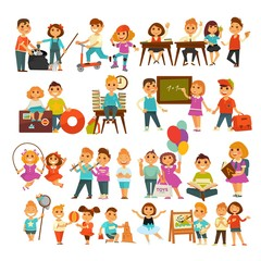 Children in school or kindergarten outdoor activity vector flat icons set